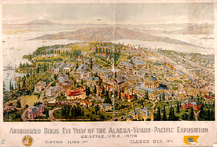 Birds-eye view of the Alaska-Yukon-Pacific Exhibition Grounds. Current site of the UW-Seattle campus.