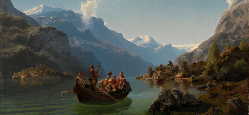 "Adolph Tidemand & Hans Gude, ""Bridal Procession on the Hardangerfjord"" (1848)"