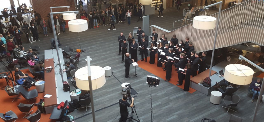 University of Washington Chamber Singers performing in Odegaard Library