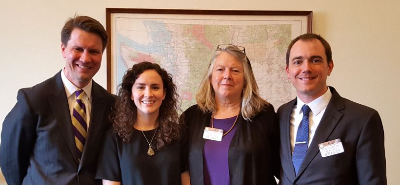 Rep. Pramila Jayapal staffer Danielle Fulfs with Nestingen, Hilton, and Hiskes