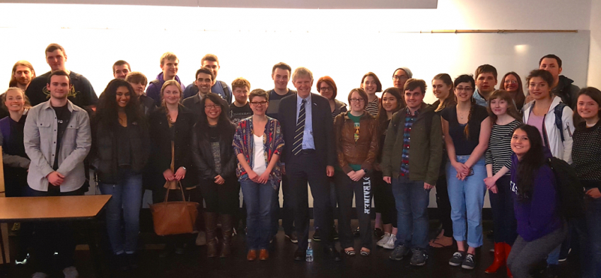 Ambassador Lyrvall and UW Scandinavian Studies Students