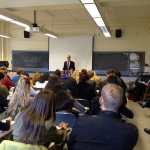 Ambassador David O'Sullivan speaking to Professor Christine Ingebritsen's class