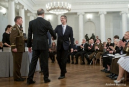 Guntis Smidchens receiving Order of the Crosss of Terra Mariana-4th Class