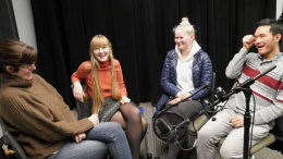 Amanda Doxtater and students in the studio