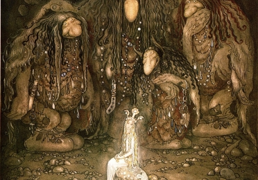 """Look at them, mother Troll said. Look at my sons! You won't find more beautiful trolls on this side of the moon"", John Bauer, 1915, watercolor"