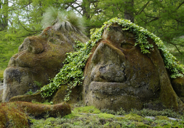 moss covered statues
